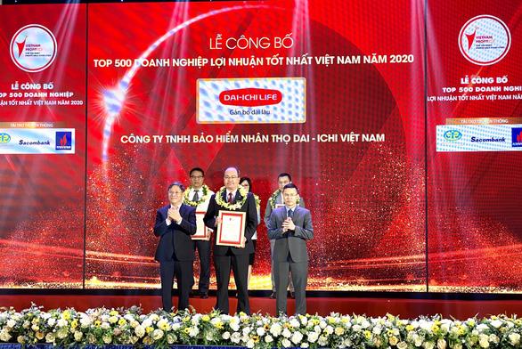 """Dai-ichi Life Việt Nam được vinh danh """"Top 500 doanh nghiệp lợi nhuận tốt nhất VN năm 2020"""" - Ảnh 1."""