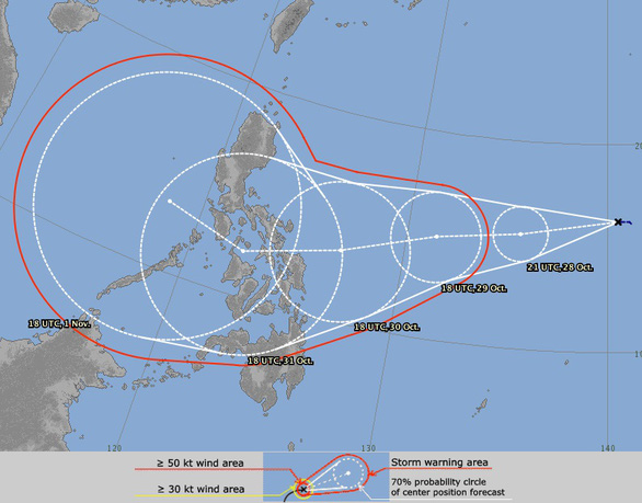 Đường đi của áp thấp nhiệt đới mới hình thành, tiền thân bão số 10 - Ảnh: Mô hình dự báo của Nhật Bản