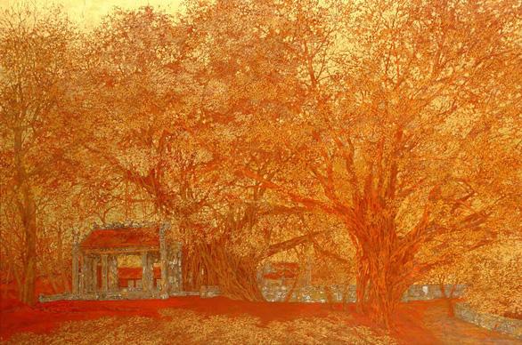Nguyễn Quốc Huy mất hơn 10 năm mang mây mù, hơi ẩm vào tranh sơn mài - Ảnh 7.