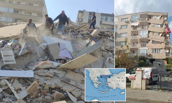 Động đất mạnh kéo sập nhà cửa, đưa cá từ biển lên đường phố Thổ Nhĩ Kỳ - Ảnh 2.