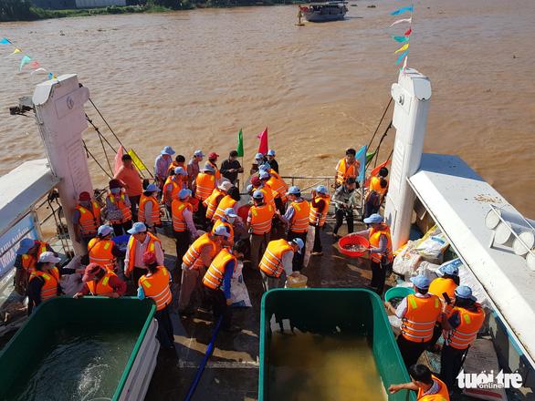An Giang thả trên 18 tấn cá về sông để tái tạo nguồn lợi thủy sản - Ảnh 3.