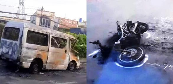 Hỗn chiến do đi nhầm phòng karaoke, lái ôtô tông xe máy dân phòng khiến cả 2 xe cháy rụi - Ảnh 2.