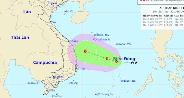 Vùng áp thấp trên Biển Đông mạnh lên thành áp thấp nhiệt đới - Ảnh 1.