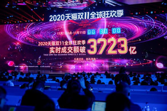 Ngày độc thân 11-11: Alibaba ghi nhận doanh thu kỷ lục 56 tỉ USD trong 10 ngày - Ảnh 1.