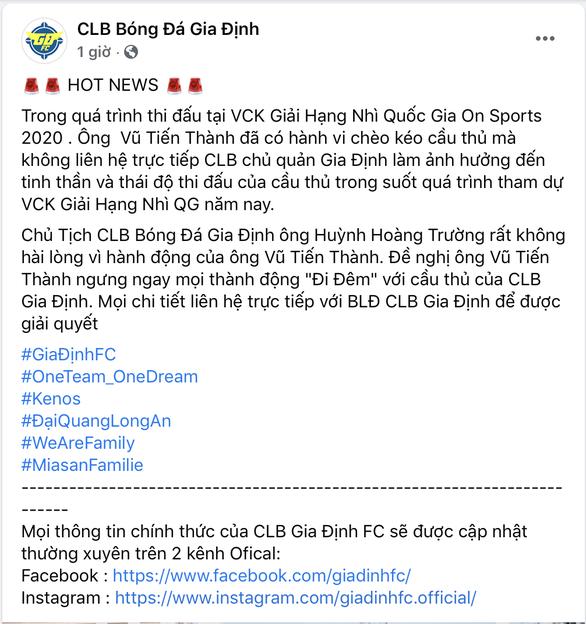 HLV của CLB Sài Gòn bị tố đi đêm với cầu thủ Gia Định - Ảnh 1.