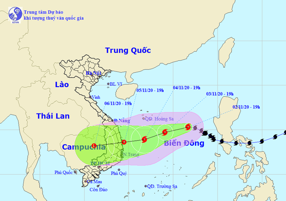Tâm bão số 10 đêm nay cách Hoàng Sa 510km, gió giật cấp 10 - Ảnh 1.