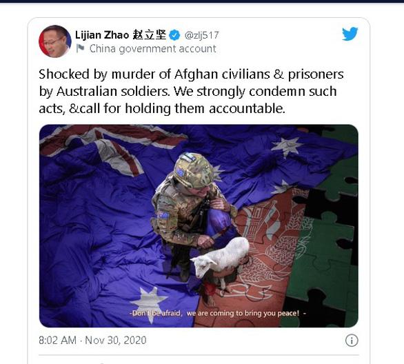 Thủ tướng Morrison phản ứng Bộ Ngoại giao Trung Quốc đăng hình bôi nhọ lính Úc - Ảnh 2.