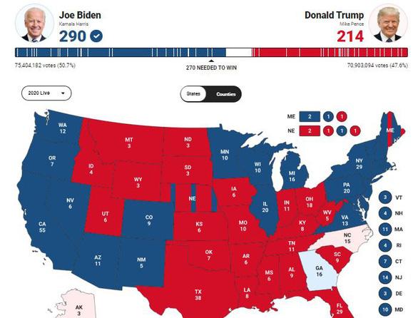 Tại sao bản đồ bầu cử Mỹ đỏ hơn xanh nhưng ông Trump lại ít phiếu? - Ảnh 1.