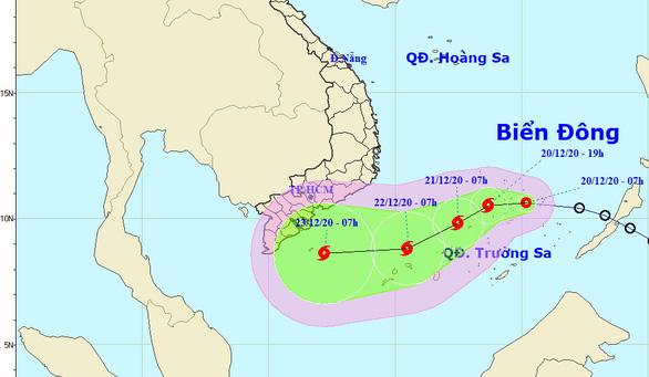 Áp thấp nhiệt đới cách Song Tử Tây 170km, dự báo thành bão trong hôm nay - Ảnh 1.