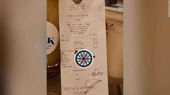 Thực khách gửi tiền boa đến 5.600 USD - Ảnh 1.