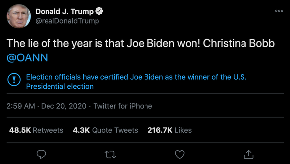 Tổng thống Trump: Lời nói dối của năm 2020 là Joe Biden đã thắng - Ảnh 2.