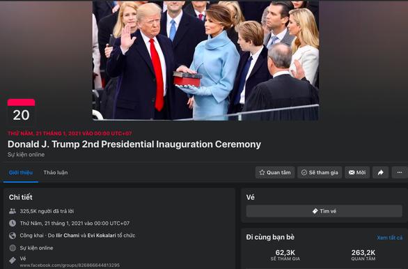 Người hâm mộ tổ chức 'lễ nhậm chức lần 2' cho ông Trump, Facebook dán cảnh báo - Ảnh 1.