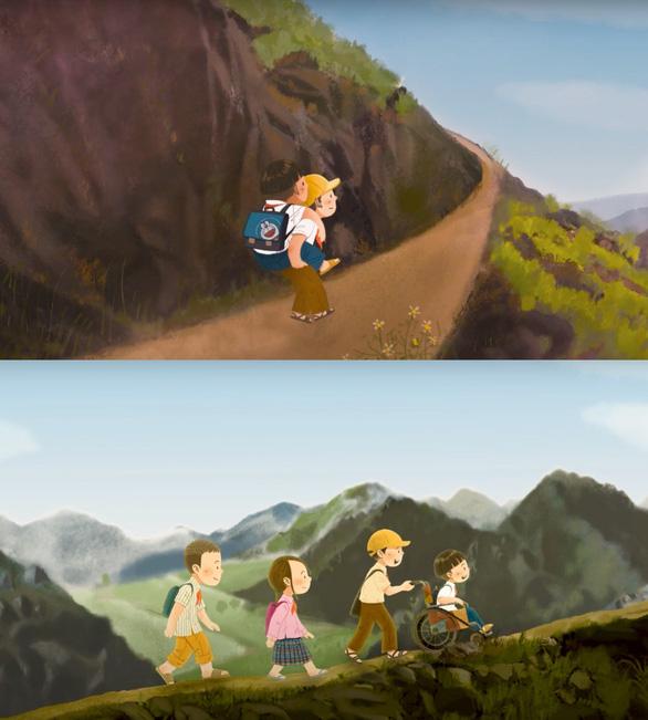 Xe quần áo 0 đồng, cậu bé cõng bạn đến trường lên phim Lòng tốt dễ lây - Ảnh 3.