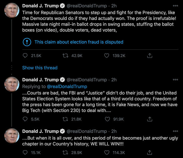 Ông Trump kêu gọi các thượng nghị sĩ Cộng hòa đứng lên và chiến đấu chống gian lận bầu cử - Ảnh 2.