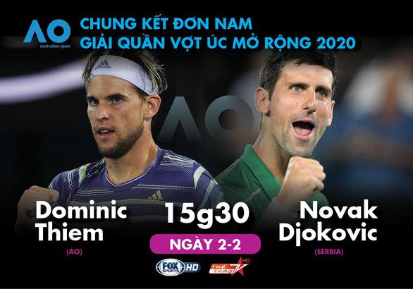 Lịch trực tiếp chung kết đơn nam Giải Úc mở rộng 2020: Djokovic - Thiem - Ảnh 1.