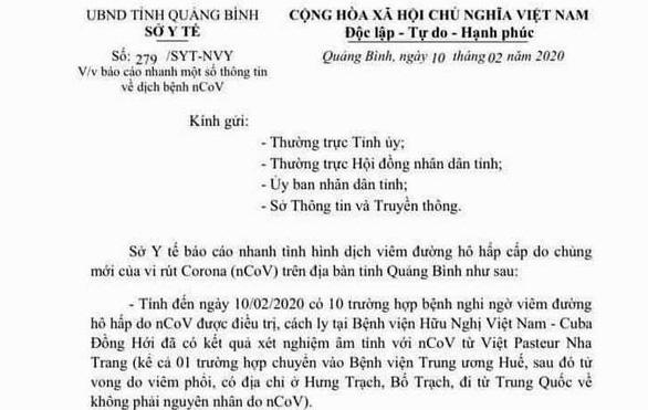 Người tử vong ở Quảng Bình là do viêm phổi, không phải vì virus corona - Ảnh 1.