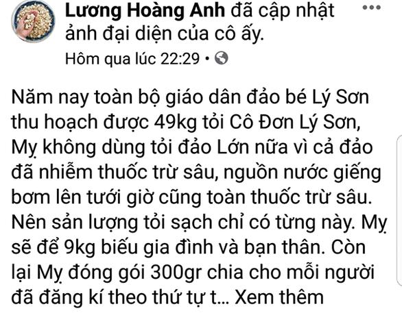 Bà Lương Hoàng Anh cử luật sư làm việc về tin đồn tỏi Lý Sơn, sở yêu cầu trực tiếp có mặt - Ảnh 1.