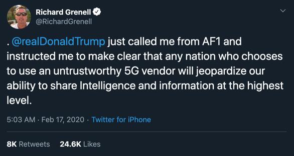 Đại sứ Mỹ tại Đức: Tổng thống Trump dọa ngưng hợp tác tình báo vì Huawei - Ảnh 2.