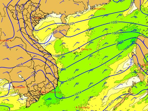 Ảnh hưởng không khí lạnh, biển động mạnh, sóng cao 2-4m - Ảnh 1.