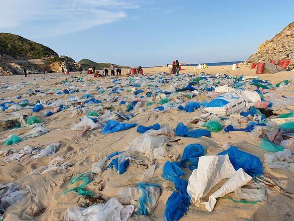 Hàng chục tấn rác biển gom xong không có xe chở - Ảnh 1.