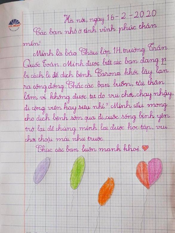 Học sinh lớp 1 Hà Nội viết thư cho các bạn ở Vĩnh Phúc: Cùng cố gắng các bạn nhé! - Ảnh 9.