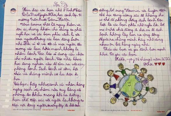 Học sinh lớp 1 Hà Nội viết thư cho các bạn ở Vĩnh Phúc: Cùng cố gắng các bạn nhé! - Ảnh 1.