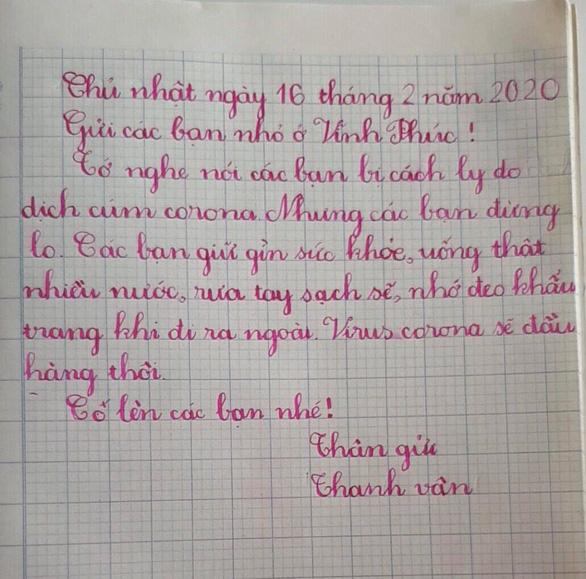 Học sinh lớp 1 Hà Nội viết thư cho các bạn ở Vĩnh Phúc: Cùng cố gắng các bạn nhé! - Ảnh 8.