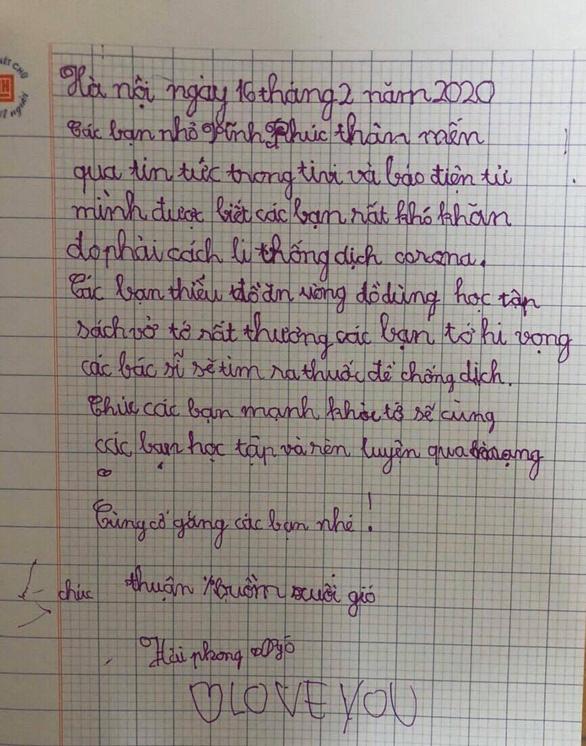Học sinh lớp 1 Hà Nội viết thư cho các bạn ở Vĩnh Phúc: Cùng cố gắng các bạn nhé! - Ảnh 3.