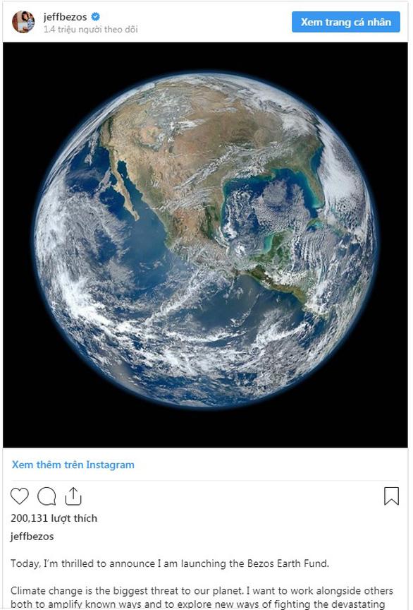 Tỉ phú Jeff Bezos góp 10 tỉ USD chống biến đổi khí hậu - Ảnh 1.