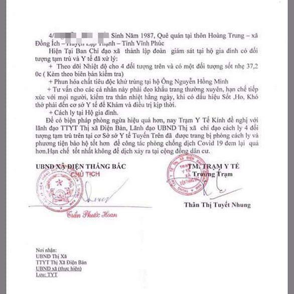 Kiểm điểm 2 trạm y tế xã đề nghị cách ly nhóm người dân trở về từ Vĩnh Phúc - Ảnh 2.