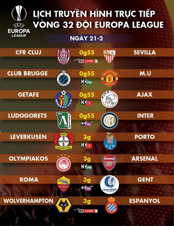 Lịch trực tiếp Europa League ngày 21-2: Tâm điểm Man United, Arsenal - Ảnh 1.