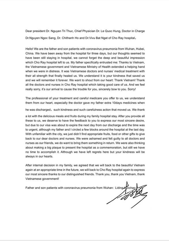 Lá thư 2 cha con nhiễm COVID-19 người Trung Quốc gửi bác sĩ Bệnh viện Chợ Rẫy - Ảnh 2.