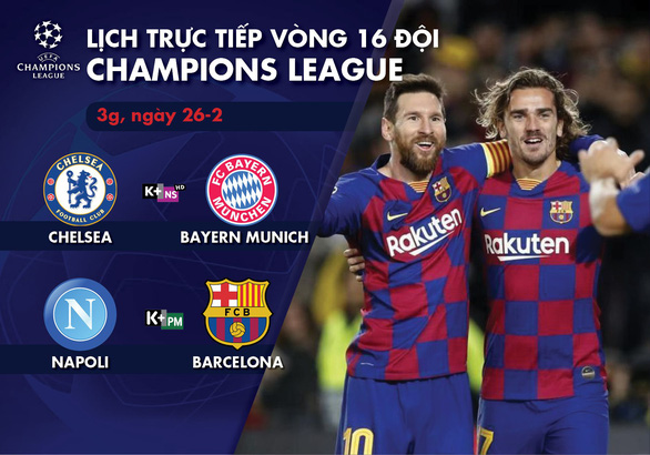 Lịch trực tiếp Champions League: Chelsea gặp Bayern Munich, Napoli - Barca - Ảnh 1.