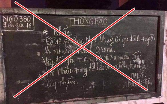 Viết sai thông tin Hà Nội có 4 người nhiễm virus corona lên bảng tin tổ dân phố - Ảnh 1.
