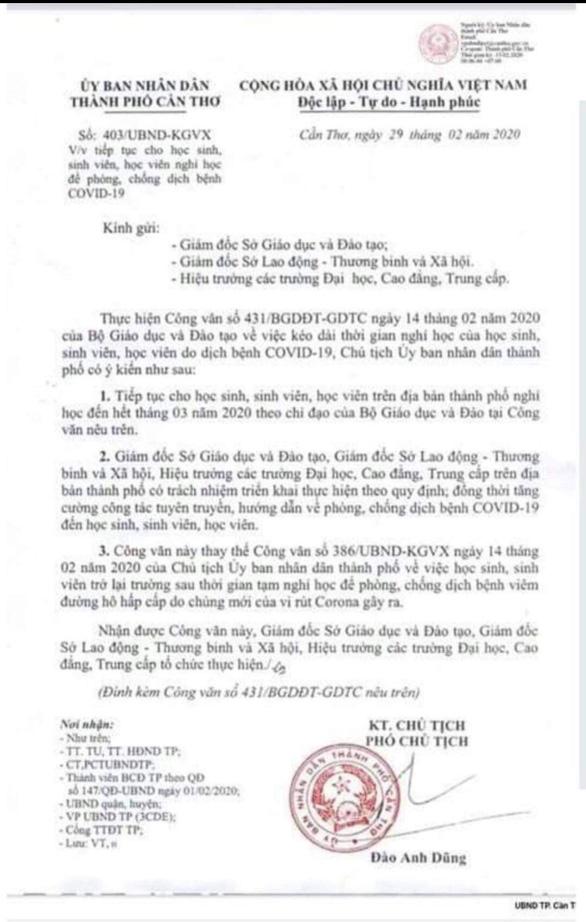 Văn bản cho học sinh, sinh viên Cần Thơ nghỉ hết tháng 3 là giả mạo - Ảnh 1.