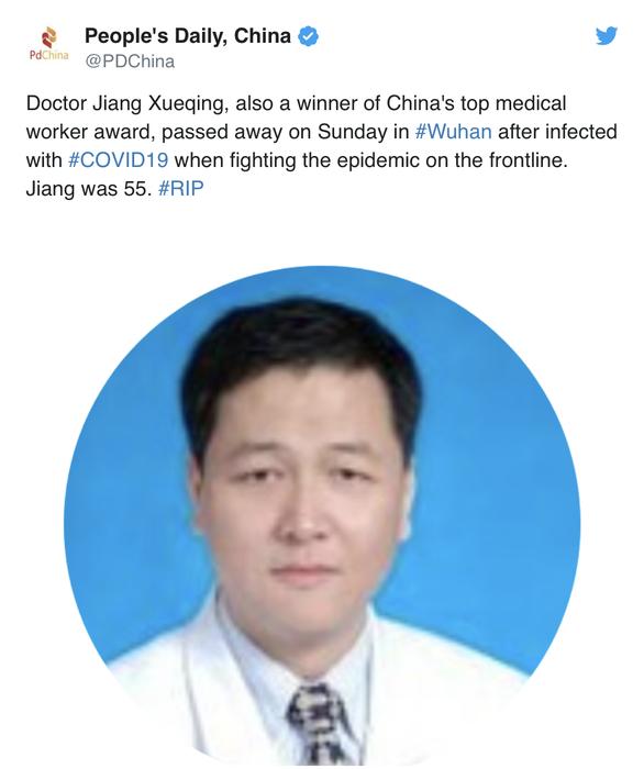 Chong COVID-19 suot 33 ngay lien, bac si Trung Quoc qua doi o tuoi 32