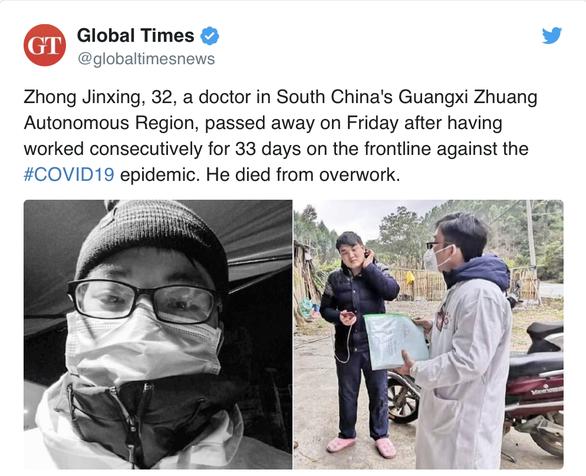 Chống COVID-19 suốt 33 ngày liền, bác sĩ Trung Quốc qua đời ở tuổi 32 - Ảnh 1.