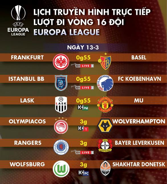 Lịch trực tiếp lượt đi vòng 16 đội Europa League ngày 13-3 - Ảnh 1.