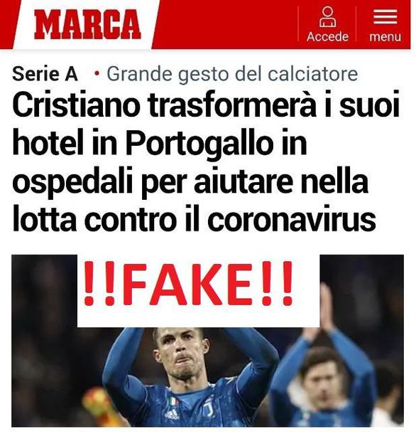 Ronaldo hiến khách sạn làm bệnh viện chữa COVID-19 là tin giả? - Ảnh 1.