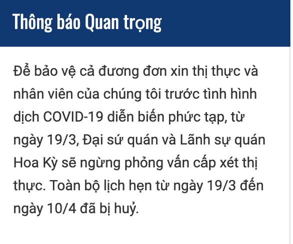 Mỹ ngừng cấp thị thực ở Việt Nam từ 19-3 do dịch bệnh COVID-19 - Ảnh 2.