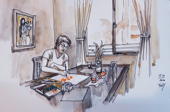 Hà Nội yêu thương, Hà Nội lạ kỳ qua ký họa mùa COVID-19 - Ảnh 13.