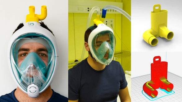 Sửa mặt nạ lặn biển thành mặt nạ trợ thở chống COVID-19 - Ảnh 4.