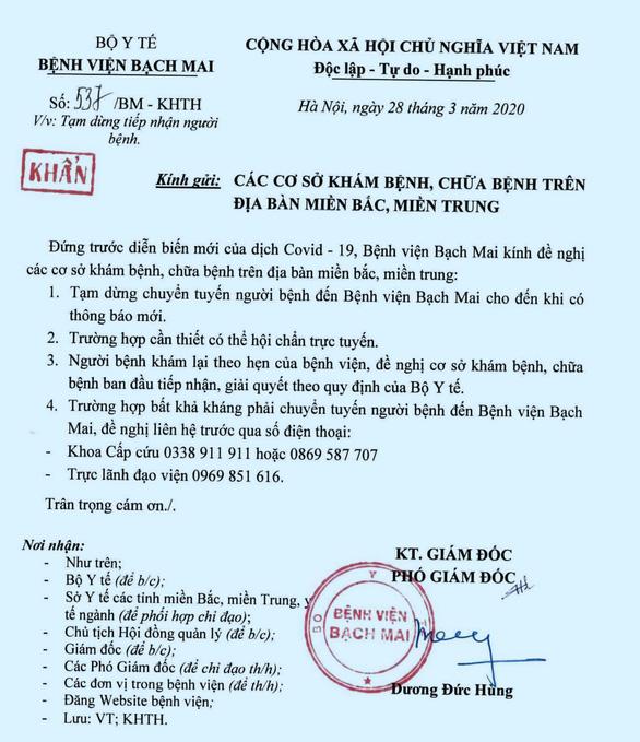 Bộ Y tế kêu gọi người dân từng đến Bệnh viện Bạch Mai nên khai báo sức khỏe - Ảnh 1.