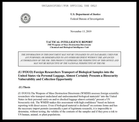 FBI: Mỹ từng phát hiện nhà khoa học Trung Quốc nghi mang lọ chứa virus MERS, SARS - Ảnh 2.