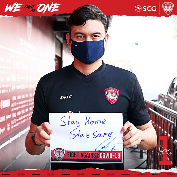 Muangthong United dùng Văn Lâm làm biểu tượng kêu gọi chống COVID-19 - Ảnh 1.