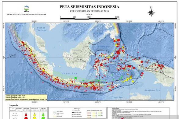 Indonesia có 779 trận động đất chỉ trong tháng 2 - Ảnh 1.