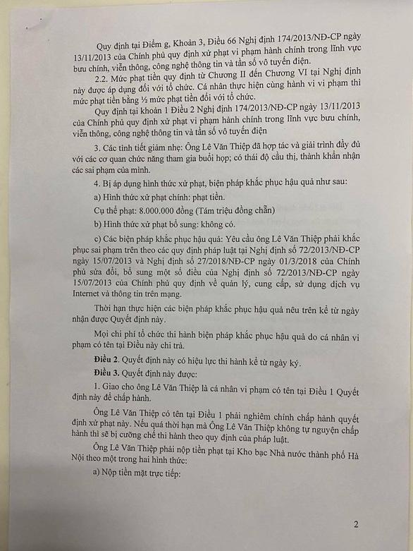 Xử phạt luật sư Lê Văn Thiệp 8 triệu vì xúc phạm nữ phóng viên mắc COVID-19 - Ảnh 1.