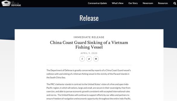Bộ Quốc phòng Mỹ chỉ đích danh tàu hải cảnh Trung Quốc đâm chìm tàu Việt Nam - Ảnh 1.