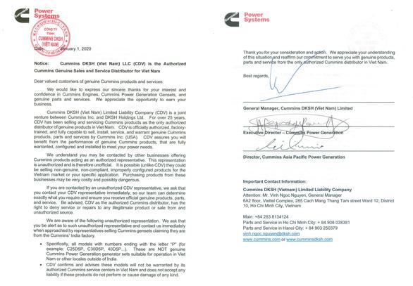 Công ty TNHH Cummins DKSH (Việt Nam) thông báo - Ảnh 3.