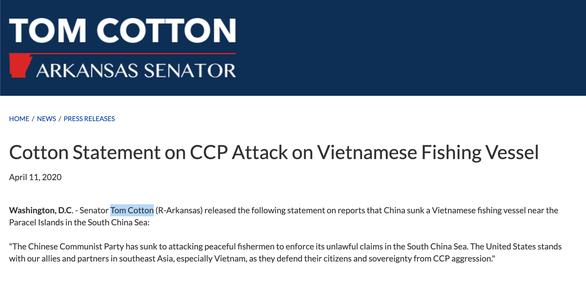 Thêm thượng nghị sĩ Mỹ lên án vụ hải cảnh Trung Quốc đâm chìm tàu cá Việt Nam trên Biển Đông - Ảnh 2.